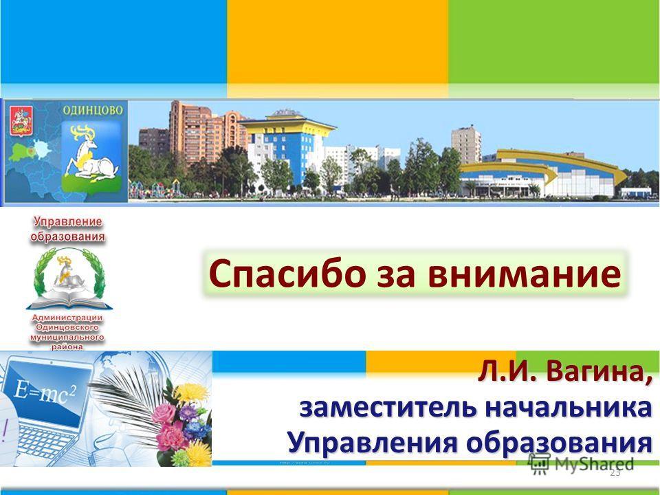 23 Спасибо за внимание Л.И. Вагина, заместитель начальника Управления образования