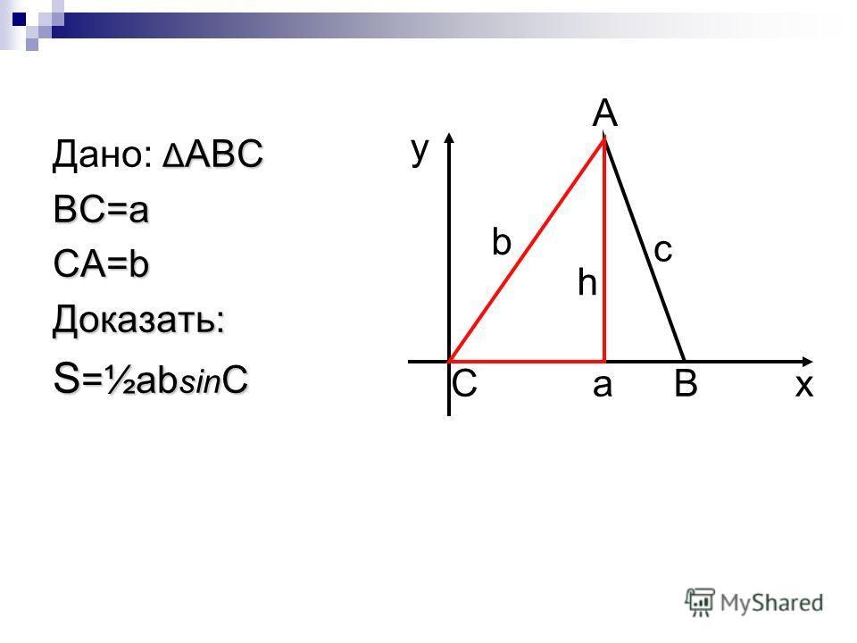 Δ ABC Дано: Δ ABCBC=aCA=bДоказать: S =½ab sin C A CBa b c h y x