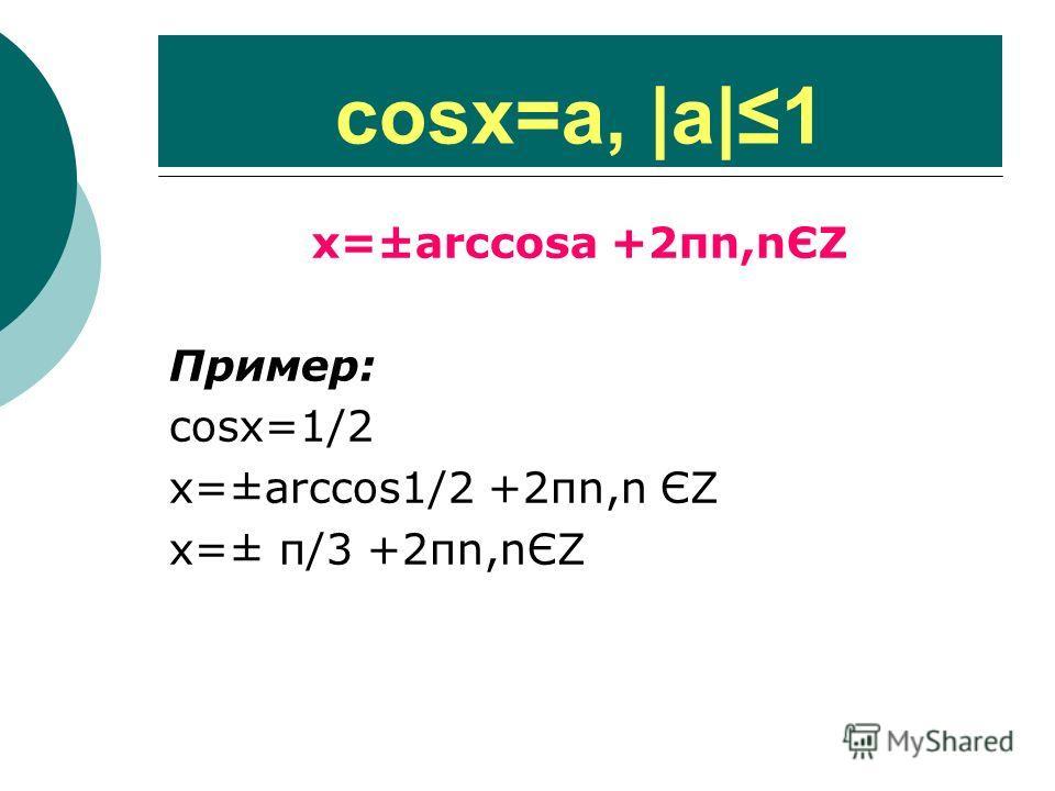 cosх=a,  a 1 х=±arccosa +2πn,nЄΖ Пример: cosх=1/2 х=±arccos1/2 +2πn,n ЄΖ х=± π/3 +2πn,nЄΖ