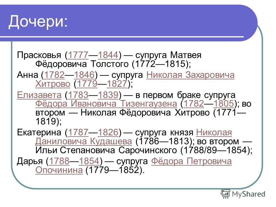 Дочери: Прасковья (17771844) супруга Матвея Фёдоровича Толстого (17721815);17771844 Анна (17821846) супруга Николая Захаровича Хитрово (17791827);17821846Николая Захаровича Хитрово17791827 ЕлизаветаЕлизавета (17831839) в первом браке супруга Фёдора И