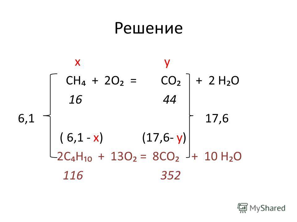 Решение x y СН + 2О = СО + 2 НО 16 44 6,1 17,6 ( 6,1 - x) (17,6- y) 2СН + 13О = 8СО + 10 НО 116 352