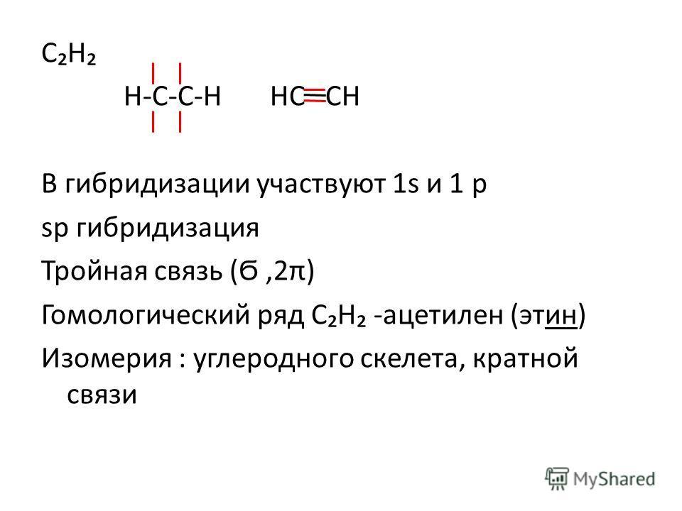 СН Н-С-С-Н НС СН В гибридизации участвуют 1s и 1 p sp гибридизация Тройная связь (Ϭ,2π) Гомологический ряд СН -ацетилен (этин) Изомерия : углеродного скелета, кратной связи