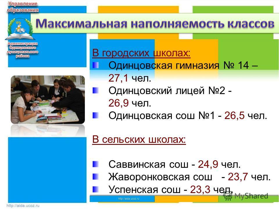 6 В городских школах: Одинцовская гимназия 14 – 27,1 чел. Одинцовский лицей 2 - 26,9 чел. Одинцовская сош 1 - 26,5 чел. В сельских школах: Саввинская сош - 24,9 чел. Жаворонковская сош - 23,7 чел. Успенская сош - 23,3 чел.