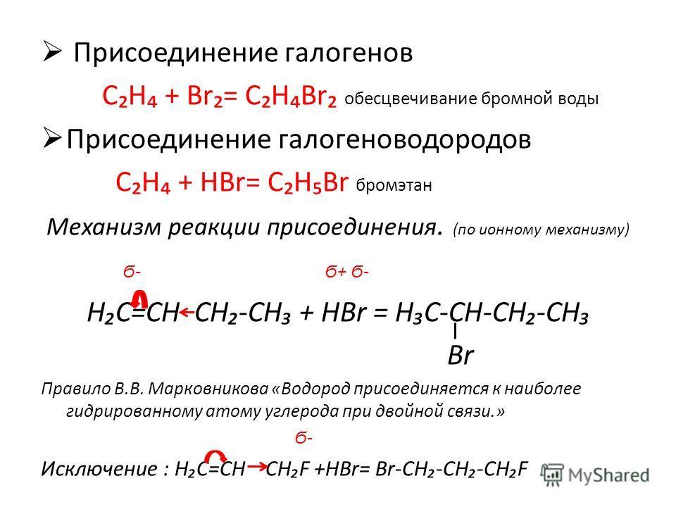 Присоединение галогенов СН + Br= СНBr обесцвечивание бромной воды Присоединение галогеноводородов СН + НBr= СНBr бромэтан Механизм реакции присоединения. (по ионному механизму) Ϭ- Ϭ+ Ϭ- НС=СН СН-СН + НBr = НС-СН-СН-СН Br Правило В.В. Марковникова «Во