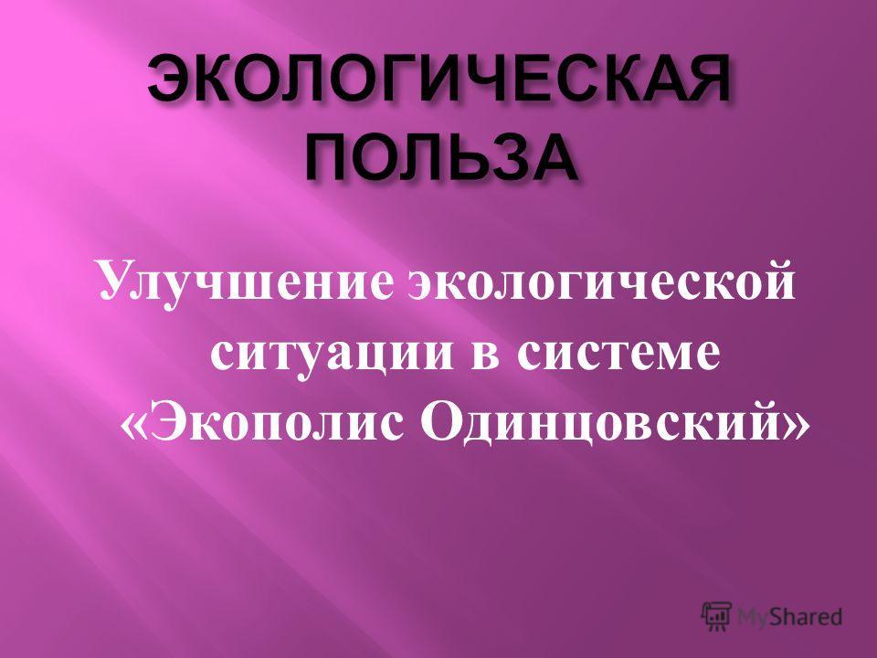 Улучшение экологической ситуации в системе « Экополис Одинцовский »