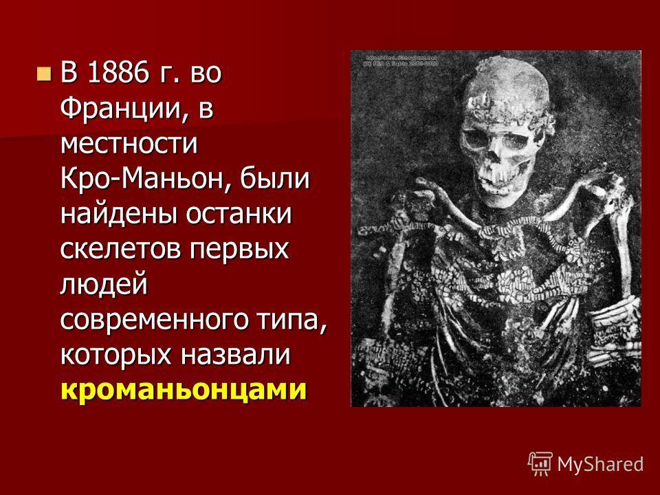 В 1886 г. во Франции, в местности Кро-Маньон, были найдены останки скелетов первых людей современного типа, которых назвали кроманьонцами В 1886 г. во Франции, в местности Кро-Маньон, были найдены останки скелетов первых людей современного типа, кото