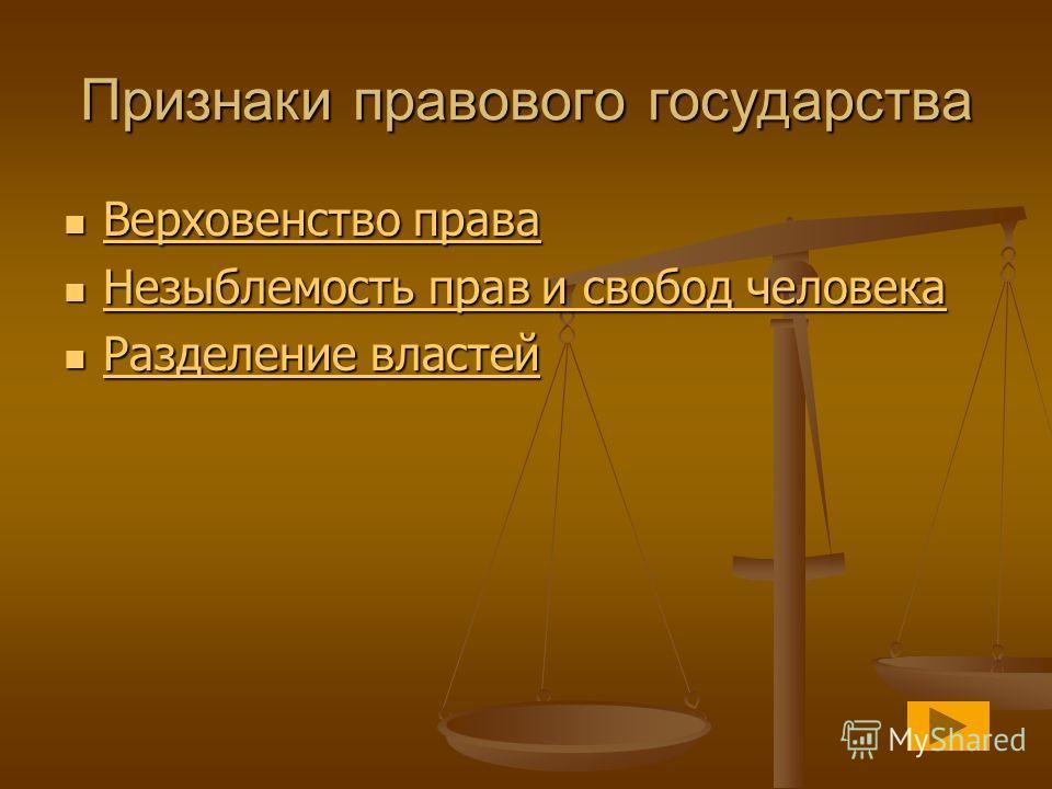 Признаки правового государства Верховенство права Верховенство права Верховенство права Верховенство права Незыблемость прав и свобод человека Незыблемость прав и свобод человека Незыблемость прав и свобод человека Незыблемость прав и свобод человека