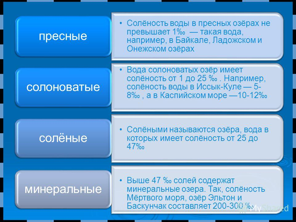 Солёность воды в пресных озёрах не превышает 1 такая вода, например, в Байкале, Ладожском и Онежском озёрах пресные Вода солоноватых озёр имеет солёность от 1 до 25. Например, солёность воды в Иссык-Куле 5- 8, а в Каспийском море 10-12 солоноватые Со