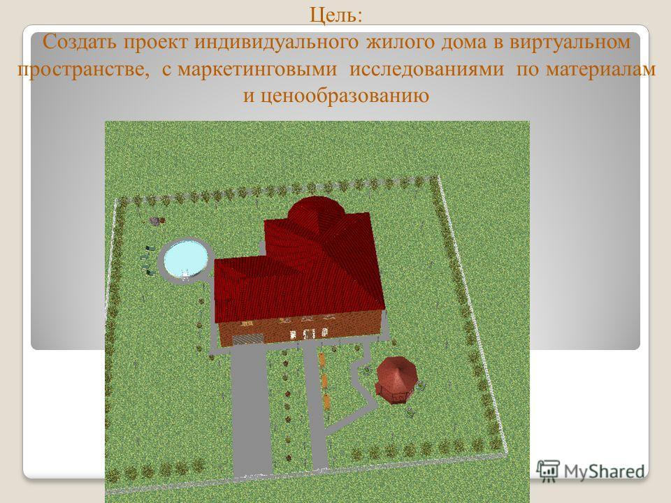 Цель: Создать проект индивидуального жилого дома в виртуальном пространстве, с маркетинговыми исследованиями по материалам и ценообразованию