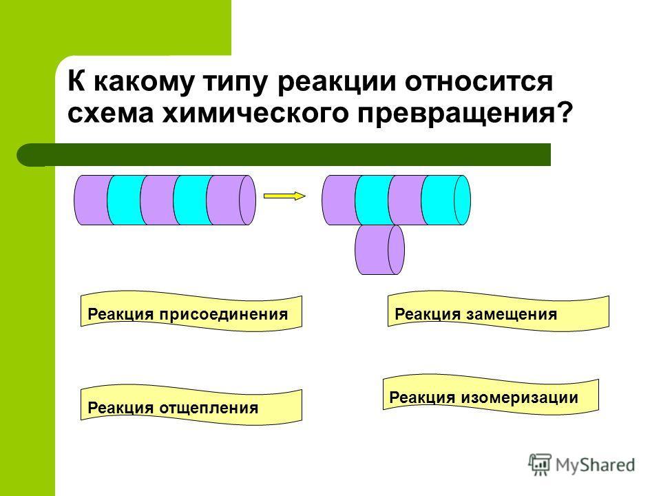 К какому типу реакции относится схема химического превращения? Реакция присоединения Реакция замещения Реакция отщепления Реакция изомеризации