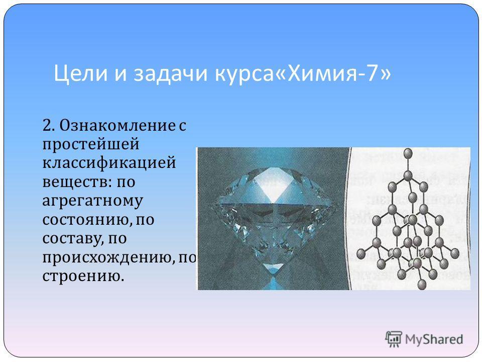 Цели и задачи курса « Химия -7» 2. Ознакомление с простейшей классификацией веществ : по агрегатному состоянию, по составу, по происхождению, по строению.
