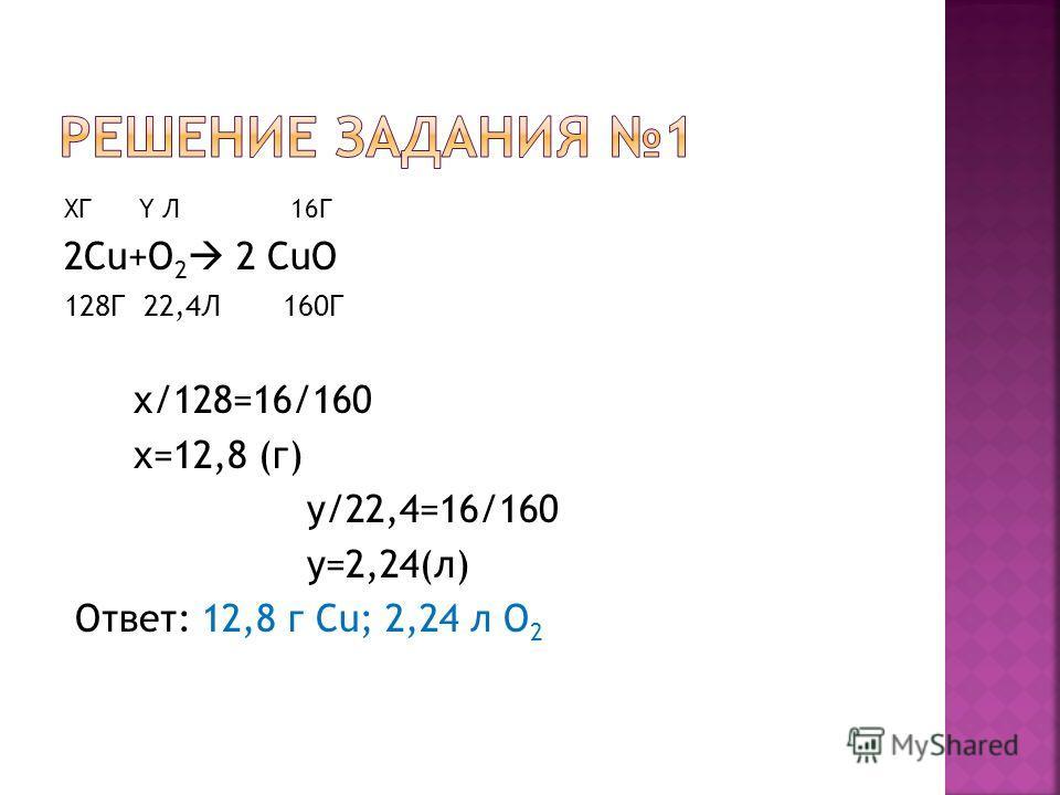 XГ Y Л 16Г 2Сu+О 2 2 CuO 128Г 22,4Л 160Г х/128=16/160 х=12,8 (г) у/22,4=16/160 у=2,24(л) Ответ: 12,8 г Сu; 2,24 л О 2