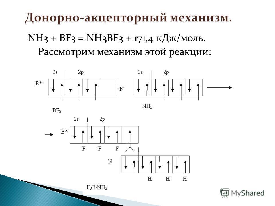 NH3 + BF3 = NH3BF3 + 171,4 кДж/моль. Рассмотрим механизм этой реакции: