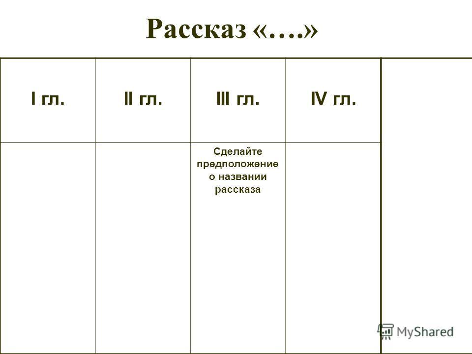 Рассказ «….» I гл.II гл.III гл.IV гл. Сделайте предположение о названии рассказа