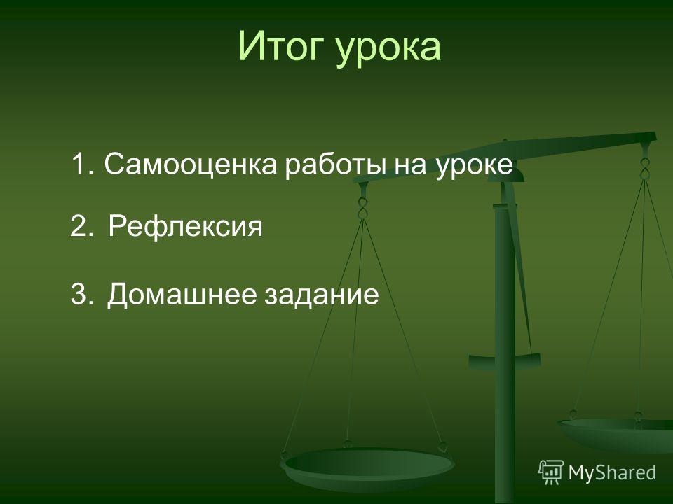Итог урока 1. Самооценка работы на уроке 2.Рефлексия 3.Домашнее задание