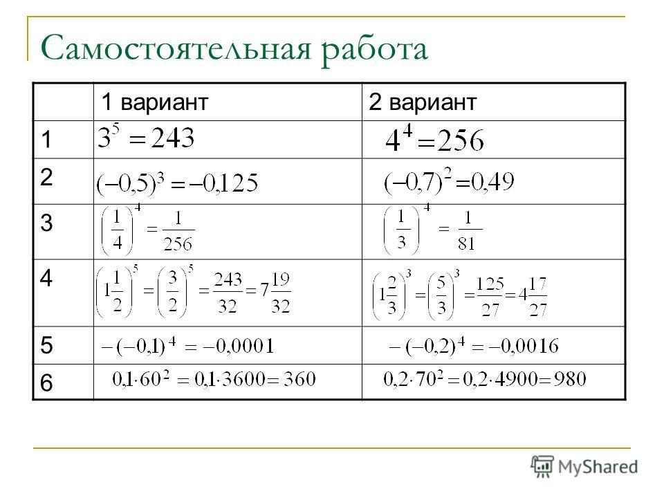Самостоятельная работа 1 вариант2 вариант 1 2 3 4 5 6