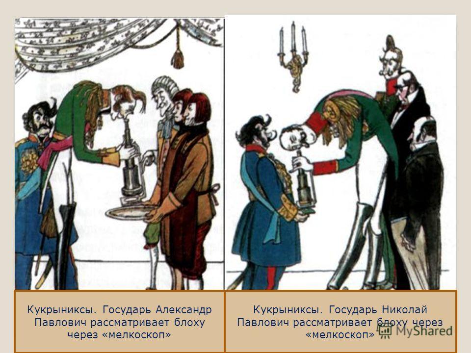 Кукрыниксы. Государь Александр Павлович рассматривает блоху через «мелкоскоп» Кукрыниксы. Государь Николай Павлович рассматривает блоху через «мелкоскоп»