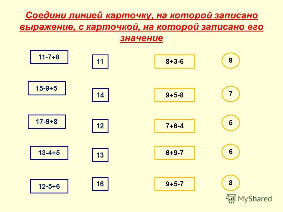 Соедини линией карточку, на которой записано выражение, с карточкой, на которой записано его значение 11-7+8 15-9+5 17-9+8 13-4+5 12-5+6 14 11 12 13 16 8+3-6 9+5-8 7+6-4 6+9-7 9+5-7 8 7 5 6 8
