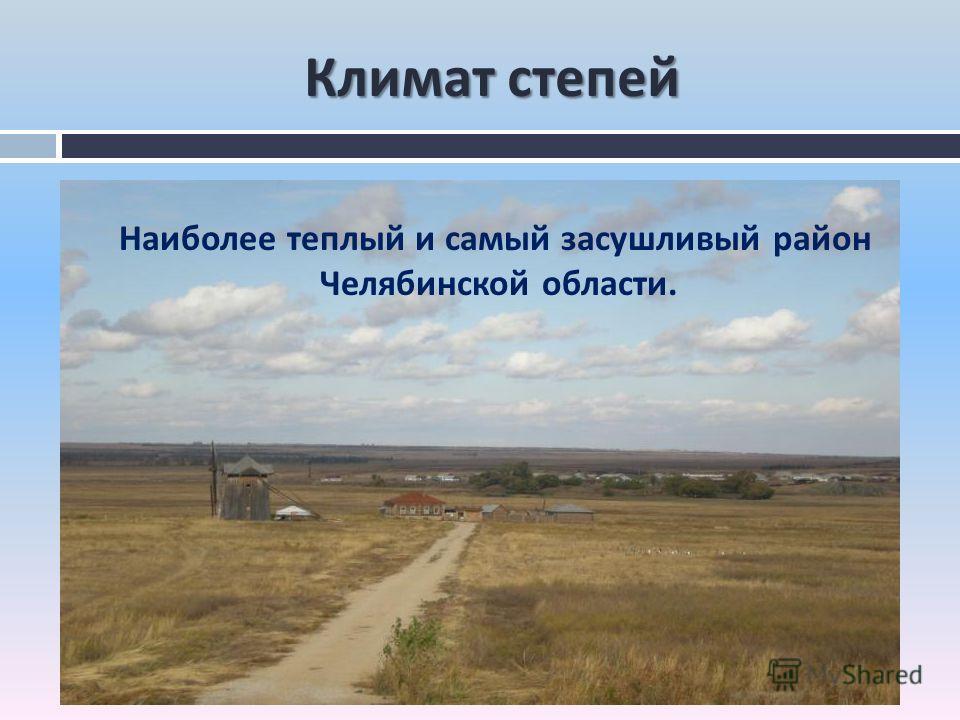 Климат степей Наиболее теплый и самый засушливый район Челябинской области.