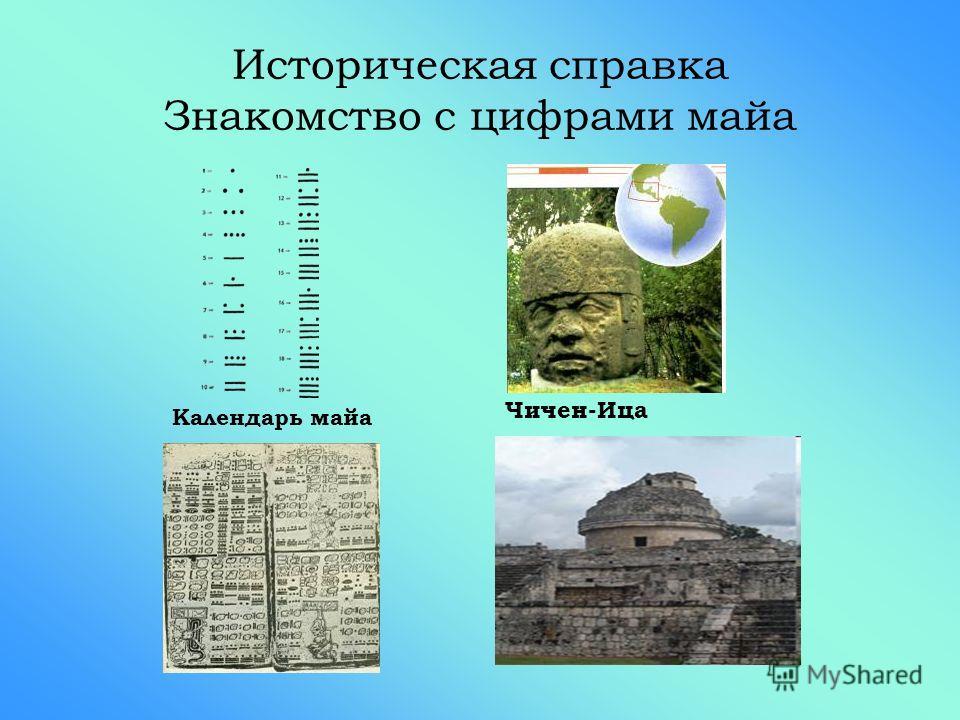 Историческая справка Знакомство с цифрами майа Чичен-Ица Календарь майа