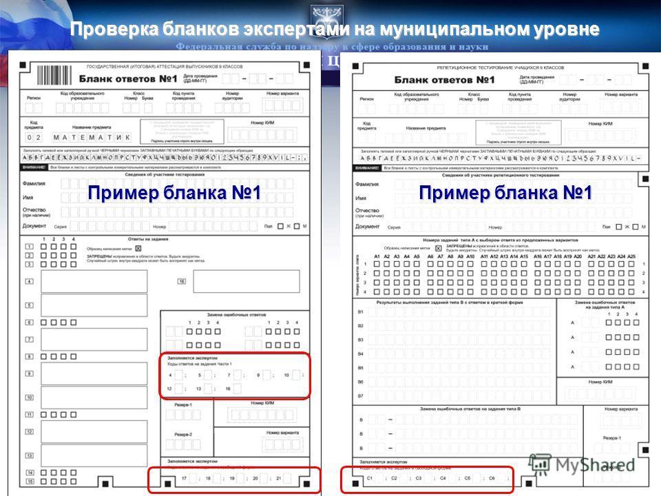 Проверка бланков экспертами на муниципальном уровне Пример бланка 1