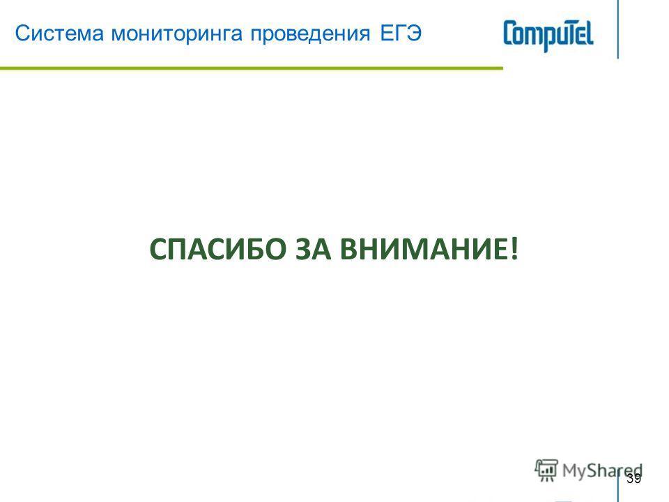 Система мониторинга проведения ЕГЭ 39 СПАСИБО ЗА ВНИМАНИЕ!