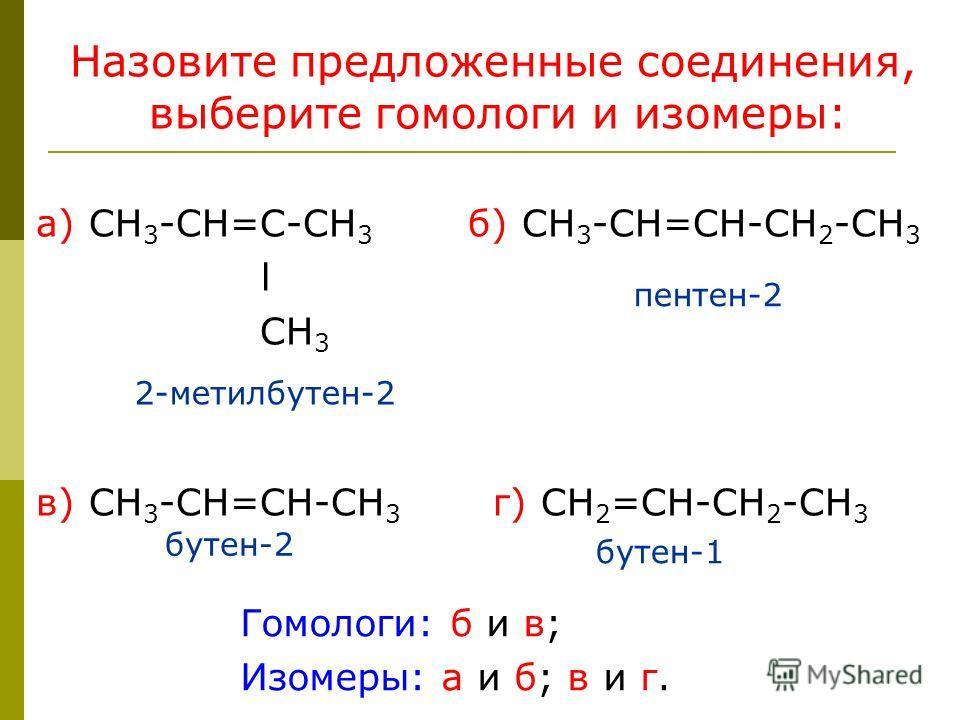 Назовите предложенные соединения, выберите гомологи и изомеры: а) СН 3 -СН=С-СН 3 б) СН 3 -СН=СН-СН 2 -СН 3 l СН 3 в) СН 3 -СН=СН-СН 3 г) СН 2 =СН-СН 2 -СН 3 2-метилбутен-2 пентен-2 бутен-2 бутен-1 Гомологи: б и в; Изомеры: а и б; в и г.