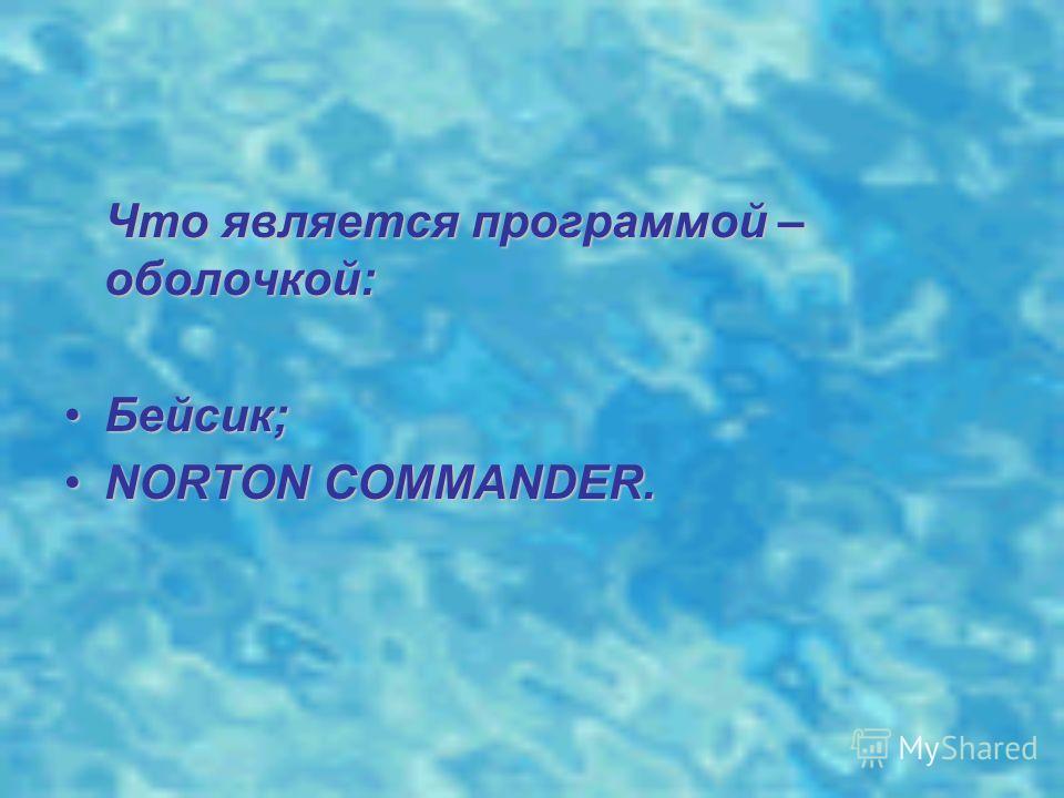 Что является программой – оболочкой: Бейсик;Бейсик; NORTON COMMANDER.NORTON COMMANDER.