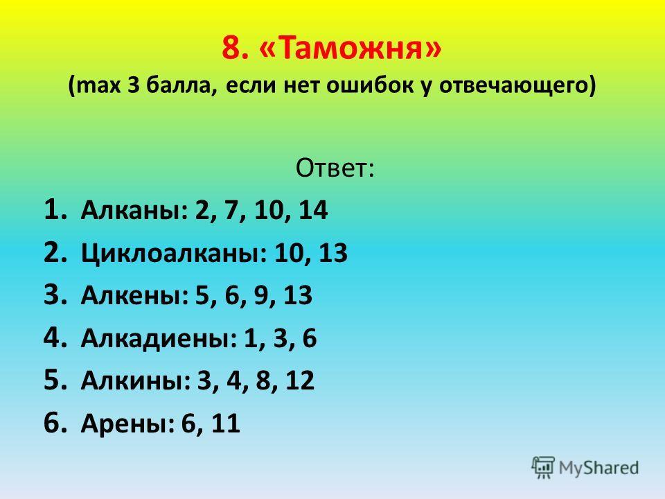 8. «Таможня» (max 3 балла, если нет ошибок у отвечающего) Ответ: 1. Алканы: 2, 7, 10, 14 2. Циклоалканы: 10, 13 3. Алкены: 5, 6, 9, 13 4. Алкадиены: 1, 3, 6 5. Алкины: 3, 4, 8, 12 6. Арены: 6, 11