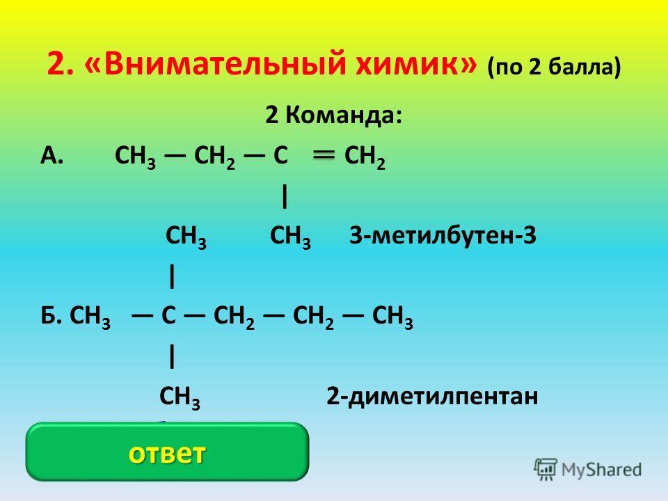 2. «Внимательный химик» (по 2 балла) 2 Команда: А. CH 3 CH 2 C CH 2 | CH 3 CH 3 3-метилбутен-3 | Б. CH 3 C CH 2 CH 2 CH 3 | CH 3 2-диметилпентан А. 2-метилбутен-1; Б. 2, 2-диметилпентан. ответ