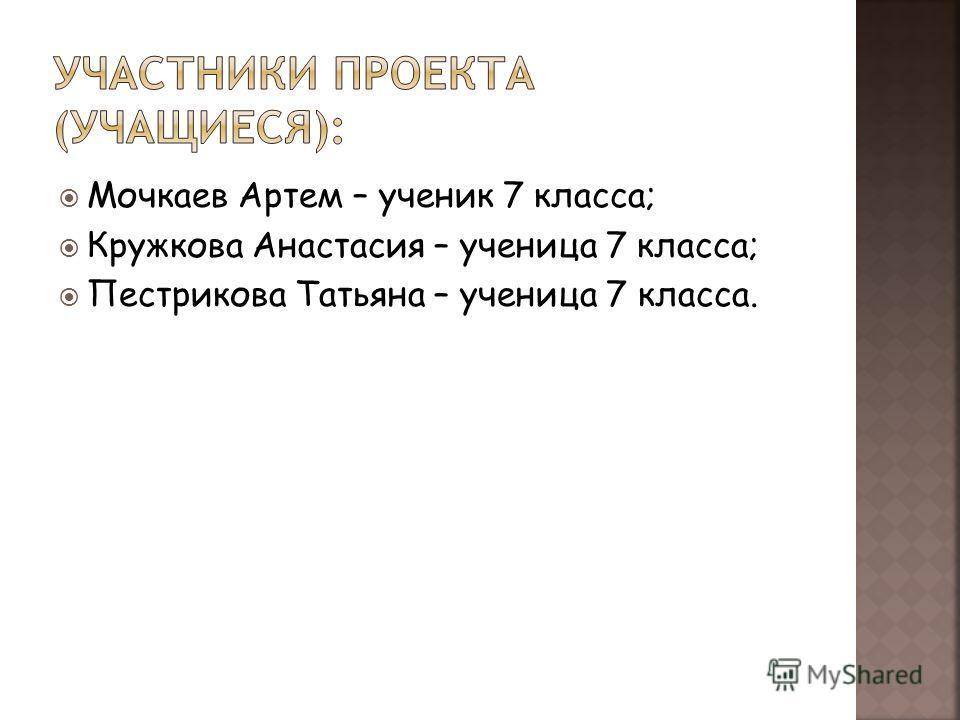 Мочкаев Артем – ученик 7 класса; Кружкова Анастасия – ученица 7 класса; Пестрикова Татьяна – ученица 7 класса.