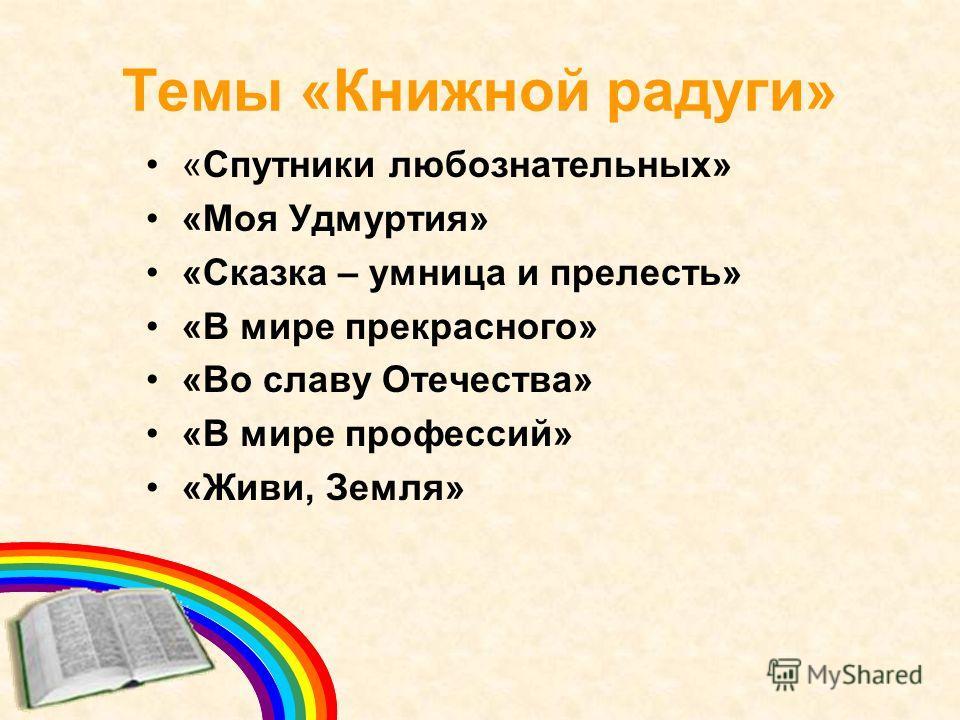 Темы «Книжной радуги» «Спутники любознательных» «Моя Удмуртия» «Сказка – умница и прелесть» «В мире прекрасного» «Во славу Отечества» «В мире профессий» «Живи, Земля»