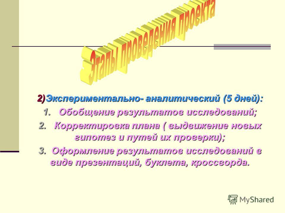 2)Экспериментально- аналитический (5 дней): 1. Обобщение результатов исследований; 2. Корректировка плана ( выдвижение новых гипотез и путей их проверки); 3. Оформление результатов исследований в виде презентаций, буклета, кроссворда.