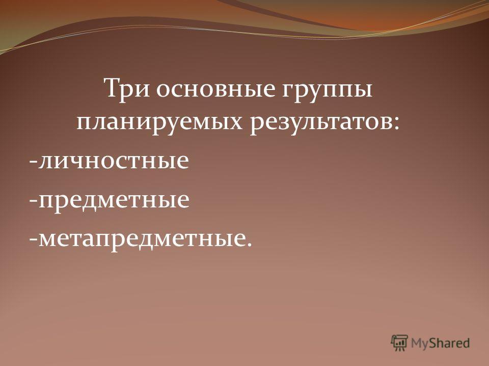 Три основные группы планируемых результатов: -личностные -предметные -метапредметные.