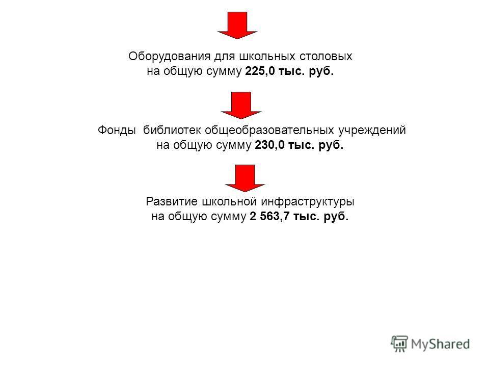 Оборудования для школьных столовых на общую сумму 225,0 тыс. руб. Фонды библиотек общеобразовательных учреждений на общую сумму 230,0 тыс. руб. Развитие школьной инфраструктуры на общую сумму 2 563,7 тыс. руб.