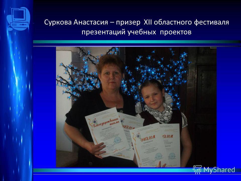 Суркова Анастасия – призер XII областного фестиваля презентаций учебных проектов