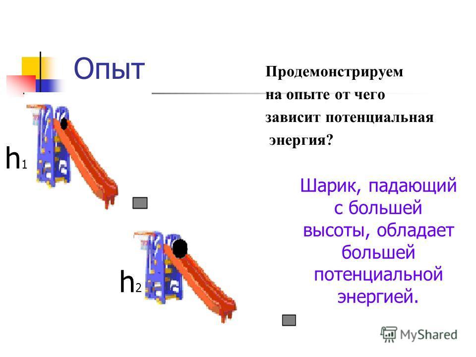 Опыт Продемонстрируем на опыте от чего зависит потенциальная энергия? h1h1 h2h2 Шарик, падающий с большей высоты, обладает большей потенциальной энергией.