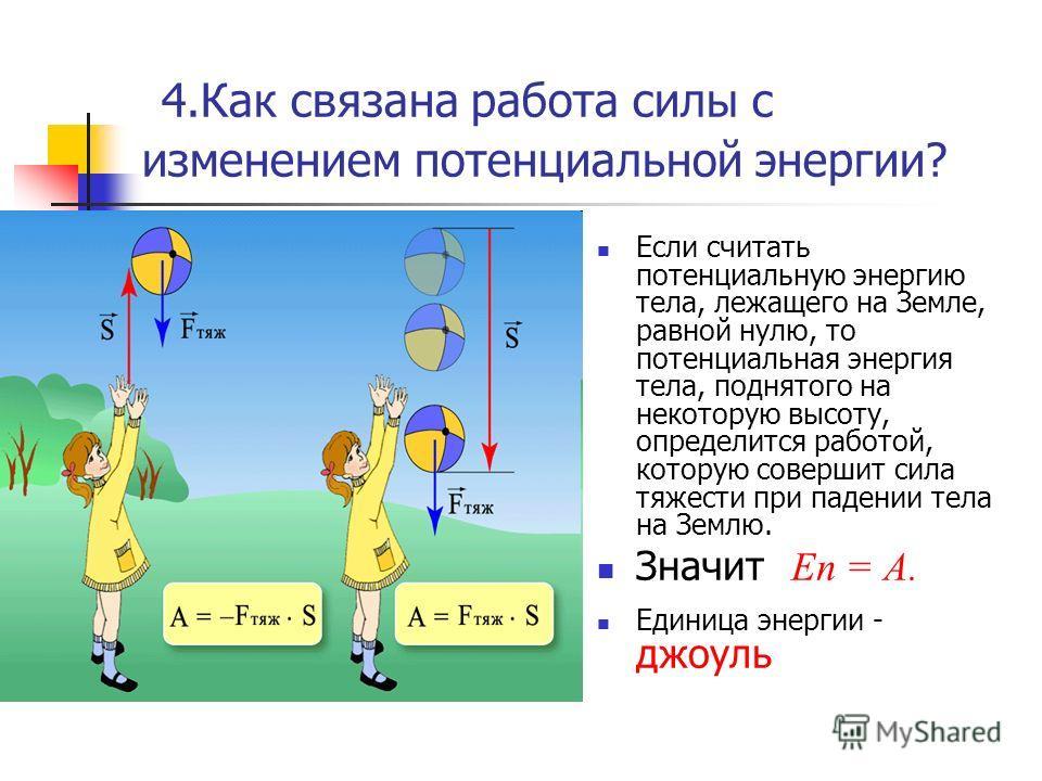 4.Как связана работа силы с изменением потенциальной энергии? Если считать потенциальную энергию тела, лежащего на Земле, равной нулю, то потенциальная энергия тела, поднятого на некоторую высоту, определится работой, которую совершит сила тяжести пр