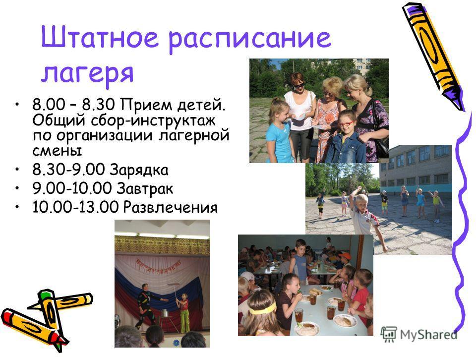 Штатное расписание лагеря 8.00 – 8.30 Прием детей. Общий сбор-инструктаж по организации лагерной смены 8.30-9.00 Зарядка 9.00-10.00 Завтрак 10.00-13.00 Развлечения