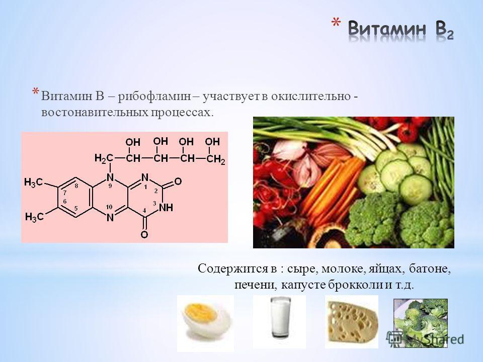 * Витамин В – рибофламин – участвует в окислительно - востонавительных процессах. Содержится в : сыре, молоке, яйцах, батоне, печени, капусте брокколи и т.д.
