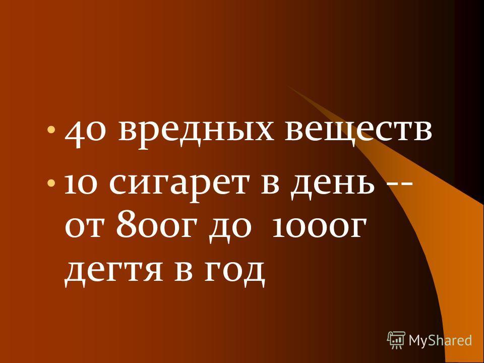 40 вредных веществ 10 сигарет в день -- от 800г до 1000г дегтя в год