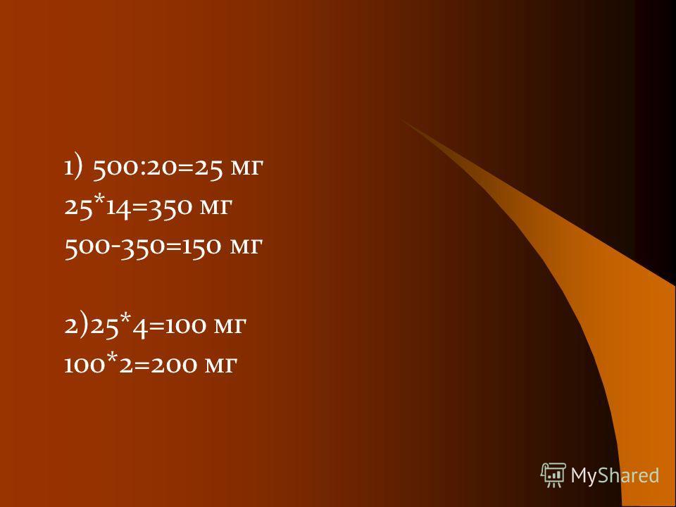 1) 500:20=25 мг 25*14=350 мг 500-350=150 мг 2)25*4=100 мг 100*2=200 мг