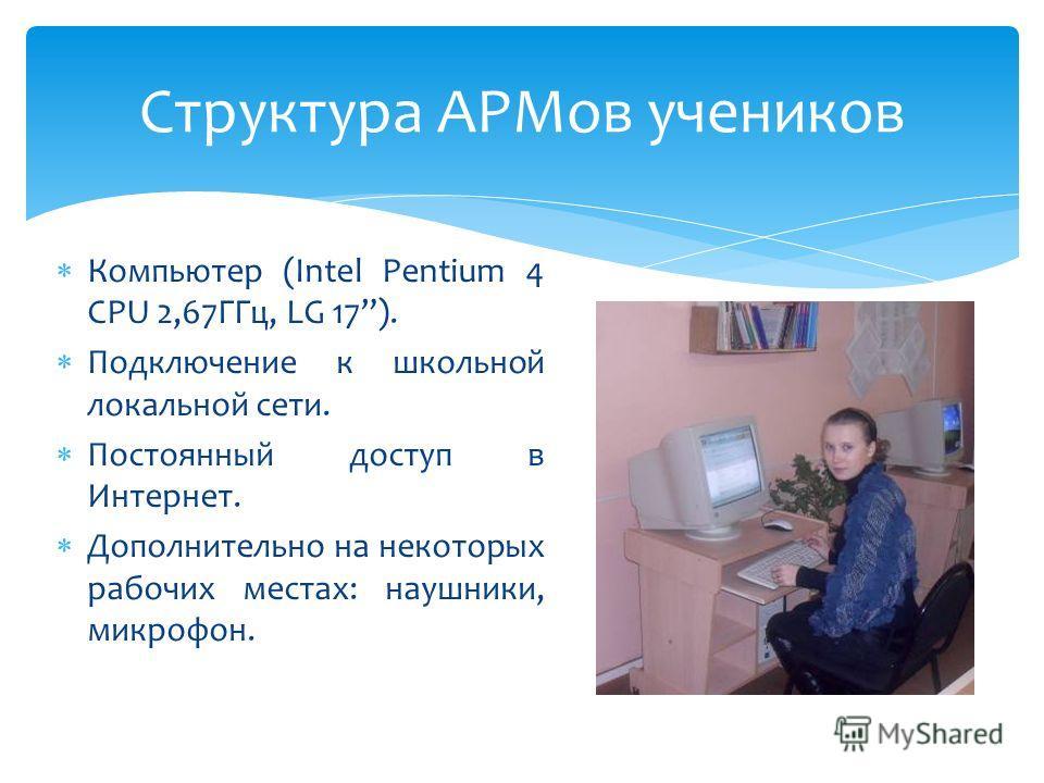 Структура АРМов учеников Компьютер (Intel Pentium 4 CPU 2,67ГГц, LG 17). Подключение к школьной локальной сети. Постоянный доступ в Интернет. Дополнительно на некоторых рабочих местах: наушники, микрофон.