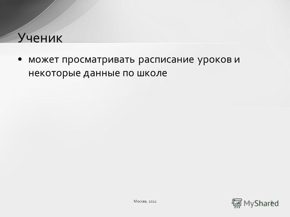 может просматривать расписание уроков и некоторые данные по школе Ученик Москва, 20119