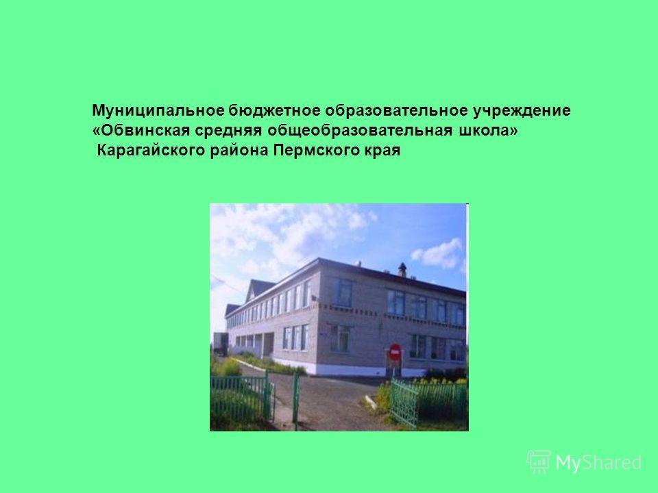 Муниципальное бюджетное образовательное учреждение «Обвинская средняя общеобразовательная школа» Карагайского района Пермского края