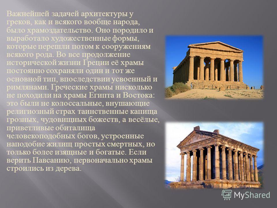 Важнейшей задачей архитектуры у греков, как и всякого вообще народа, было храмоздательство. Оно породило и выработало художественные формы, которые перешли потом к сооружениям всякого рода. Во все продолжение исторической жизни Греции её храмы постоя