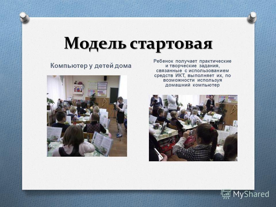 Модель стартовая Компьютер у детей дома Ребенок получает практические и творческие задания, связанные с использованием средств ИКТ, выполняет их, по возможности используя домашний компьютер