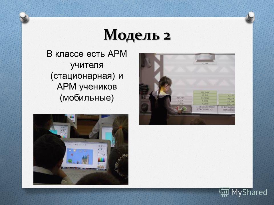 Модель 2 В классе есть АРМ учителя ( стационарная ) и АРМ учеников ( мобильные )