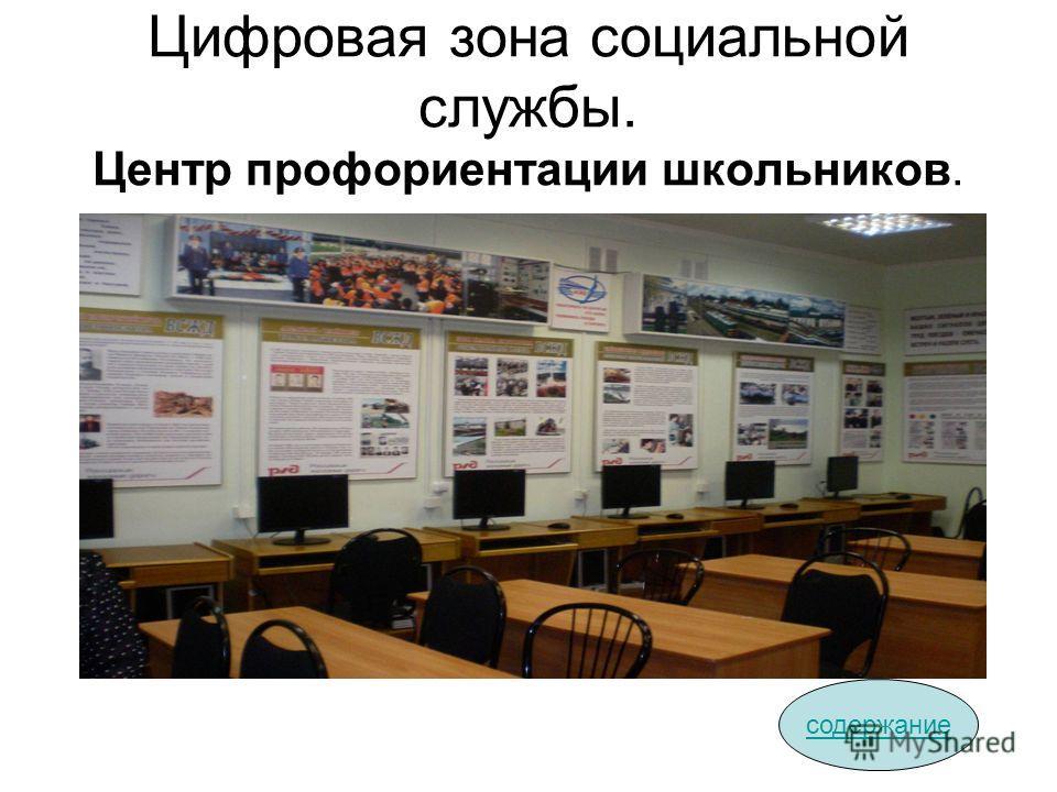 Цифровая зона социальной службы. Центр профориентации школьников. содержание