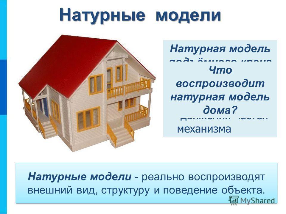 Натурные модели - реально воспроизводят внешний вид, структуру и поведение объекта. Натурная модель подъёмного крана воспроизводит: состав; движения частей механизма Натурные модели Что воспроизводит натурная модель дома?